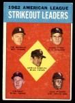 1963 Topps #10   -  Jim Bunning / Camilo Pascual / Jim Kaat / Juan Pizarro / Ralph Terry AL Strikeout Leaders Front Thumbnail