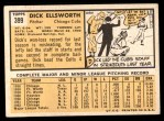 1963 Topps #399  Dick Ellsworth  Back Thumbnail