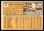1963 Topps #334  Wynn Hawkins  Back Thumbnail