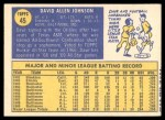 1970 Topps #45  Davey Johnson  Back Thumbnail