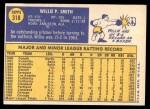 1970 Topps #318  Willie Smith  Back Thumbnail