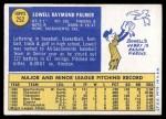 1970 Topps #252  Lowell Palmer  Back Thumbnail