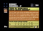2007 Topps #304   -  Kenny Rogers Golden Glove Back Thumbnail