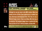 2007 Topps Update #254  Albert Pujols  Back Thumbnail