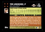 2007 Topps Update #158  Tim Lincecum  Back Thumbnail