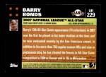 2007 Topps Update #229  Barry Bonds  Back Thumbnail