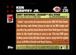 2007 Topps Update #230  Ken Griffey Jr.  Back Thumbnail