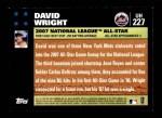 2007 Topps Update #227  David Wright  Back Thumbnail