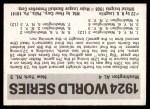 1971 Fleer World Series #22   1924 Senators / Giants -    Back Thumbnail