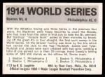 1971 Fleer World Series #12   1914 Braves / A's -    Back Thumbnail