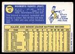 1970 Topps #42  Tito Fuentes  Back Thumbnail