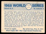 1970 Fleer World Series #65   1968 Tigers vs. Cardinals Back Thumbnail