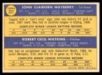 1970 Topps #227   -  John Mayberry / Bob Watkins Astros Rookies Back Thumbnail