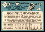 1965 Topps #375  Dave Wickersham  Back Thumbnail