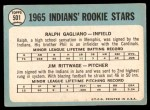 1965 Topps #501   -  Jim Rittwage / Ralph Gagliano Indians Rookies Back Thumbnail