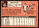 1969 Topps #252  Chuck Cottier  Back Thumbnail