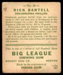 1933 Goudey #28  Dick Bartell  Back Thumbnail