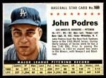1961 Post #169  Johnny Podres  Front Thumbnail