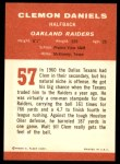 1963 Fleer #57  Clem Daniels  Back Thumbnail