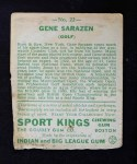 1933 Goudey Sport Kings #22  Gene Sarazen   Back Thumbnail