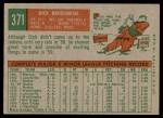 1959 Topps #371  Dick Brodowski  Back Thumbnail