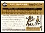 2009 Topps Heritage #169  Joe Nathan  Back Thumbnail