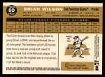 2009 Topps Heritage #80  Brian Wilson  Back Thumbnail