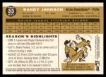 2009 Topps Heritage #33  Randy Johnson  Back Thumbnail