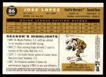 2009 Topps Heritage #86  Jose Lopez  Back Thumbnail