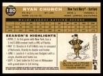 2009 Topps Heritage #180  Ryan Church  Back Thumbnail