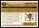 2009 Topps Heritage #73  David Price  Back Thumbnail