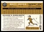 2009 Topps Heritage #171  Matt Joyce  Back Thumbnail
