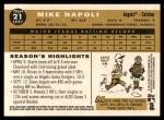 2009 Topps Heritage #21  Mike Napoli  Back Thumbnail