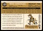 2009 Topps Heritage #189  Mike Gonzalez  Back Thumbnail