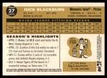 2009 Topps Heritage #27  Nick Blackburn  Back Thumbnail