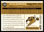 2009 Topps Heritage #185  Kyle Kendrick  Back Thumbnail