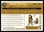 2009 Topps Heritage #193  Brian Fuentes  Back Thumbnail