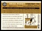 2009 Topps Heritage #105  Brad Penny  Back Thumbnail