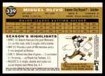 2009 Topps Heritage #339  Miguel Olivo  Back Thumbnail