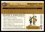 2009 Topps Heritage #211  Manny Parra  Back Thumbnail