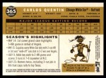 2009 Topps Heritage #365  Carlos Quentin  Back Thumbnail