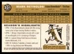 2009 Topps Heritage #231  Mark Reynolds  Back Thumbnail