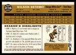 2009 Topps Heritage #316  Wilson Betemit  Back Thumbnail