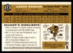 2009 Topps Heritage #312  Aaron Rowand  Back Thumbnail