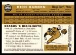 2009 Topps Heritage #398  Rich Harden  Back Thumbnail