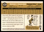 2009 Topps Heritage #238  Ronny Paulino  Back Thumbnail
