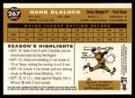 2009 Topps Heritage #267  Hank Blalock  Back Thumbnail