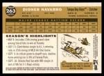 2009 Topps Heritage #263  Dioner Navarro  Back Thumbnail
