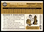 2009 Topps Heritage #380  Prince Fielder  Back Thumbnail