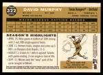 2009 Topps Heritage #322  David Murphy  Back Thumbnail